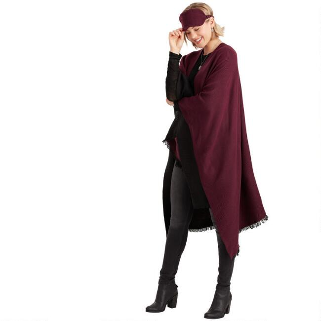Burgundy And Black Pleated Travel Wrap 3 Piece Gift Set