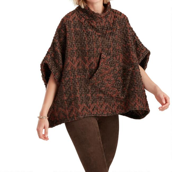 Brown And Rust Funnel Neck Cecil Poncho With Pocket