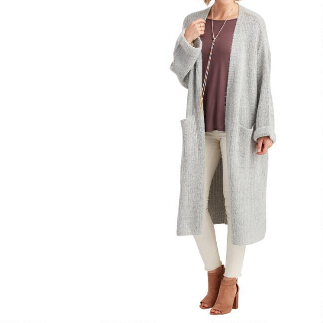 Gray Melange Josie Duster Sweater with Pockets