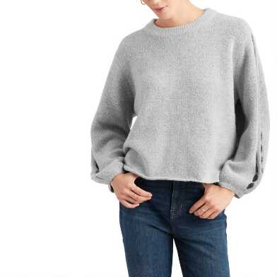Light Gray Cutout Sleeve Sweater