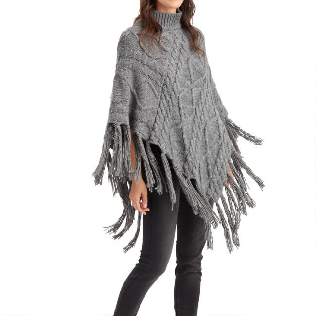 Gray Cable Knit Sweater Poncho with Tassels