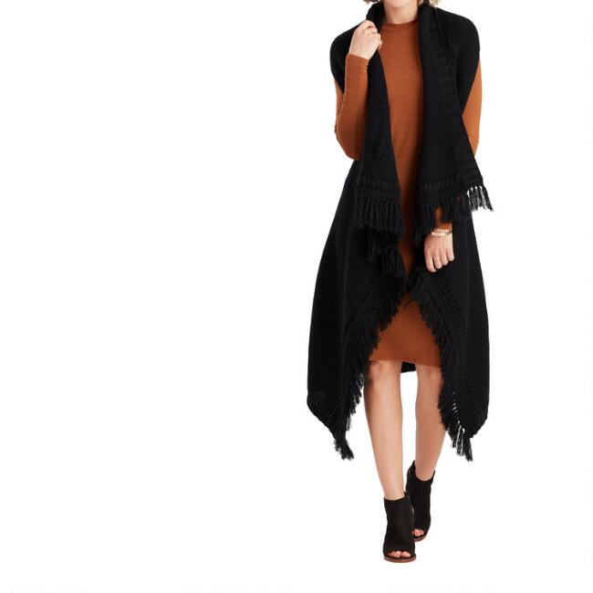 Black Cable Knit Laura Sweater Vest With Tassel Fringe