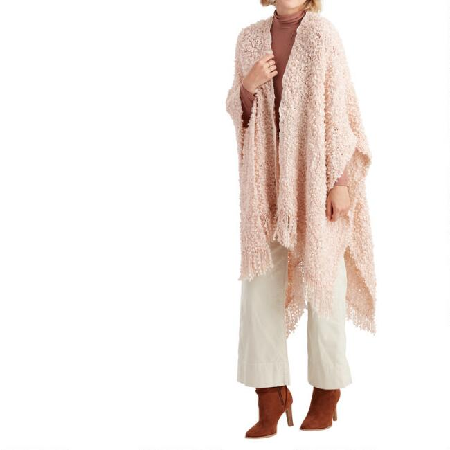 Blush Textured Fringe Knit Wrap