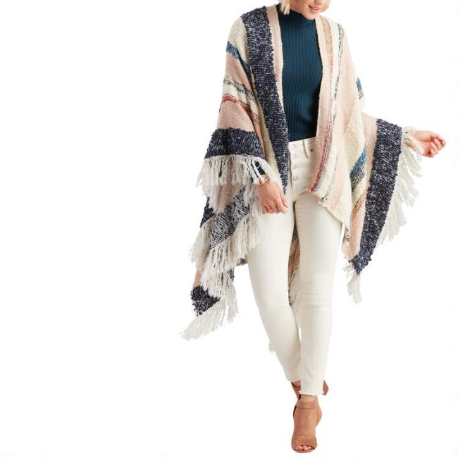 Blush, Blue And Ivory Textured Dawn Wrap