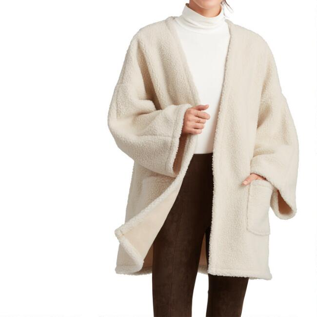 Ivory Faux Sherpa Jacket With Pockets