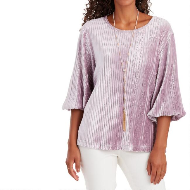 Lilac Pleated Velvet Top