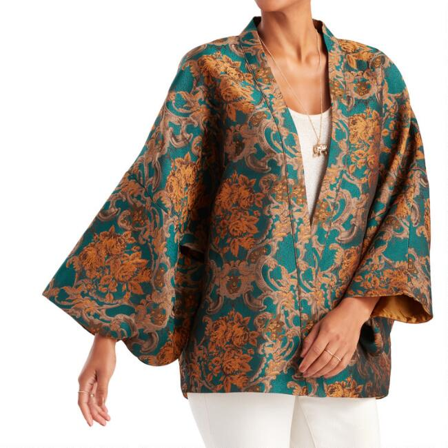 Orange And Teal Jacquard Helena Kimono Jacket