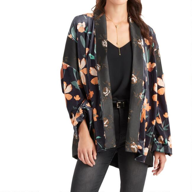 Navy Blue Multicolor Floral Mixed Print Evelyn Kimono