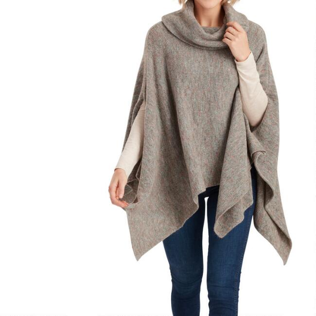 Marled Gray Cowl Neck Poncho Sweater