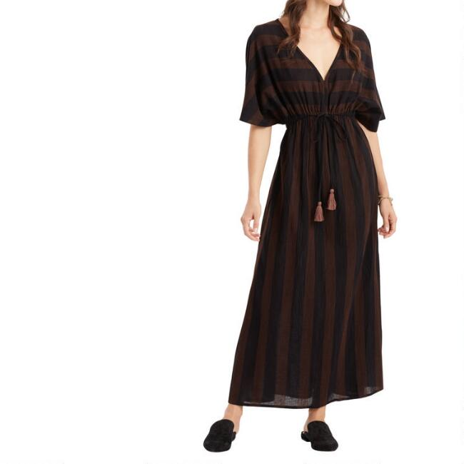 Black And Rust Striped Mira Kaftan Dress