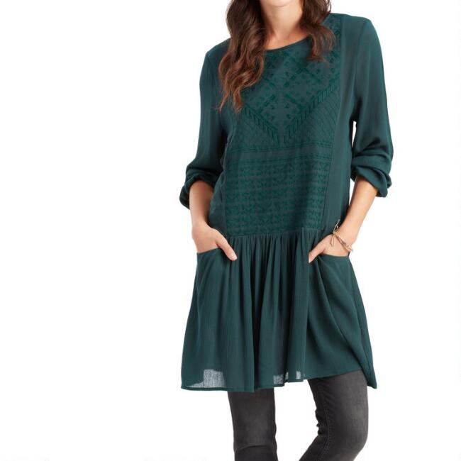 Teal Embroidered Edna Swing Dress With Pockets