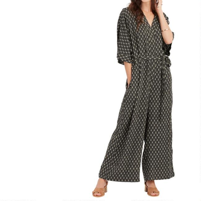 Black And White Geometric Gable Jumpsuit With Pockets