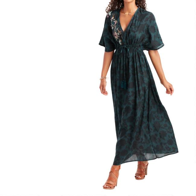 Teal And Black Floral Embroidered Mira Kaftan Dress