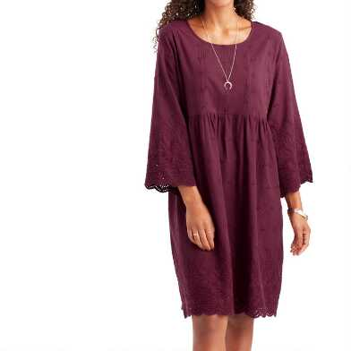Wine Red Embroidered Eyelet Ruby Dress