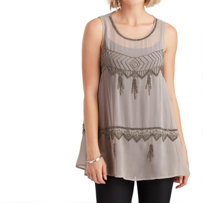 Gilded Silver And Gray Beaded Top
