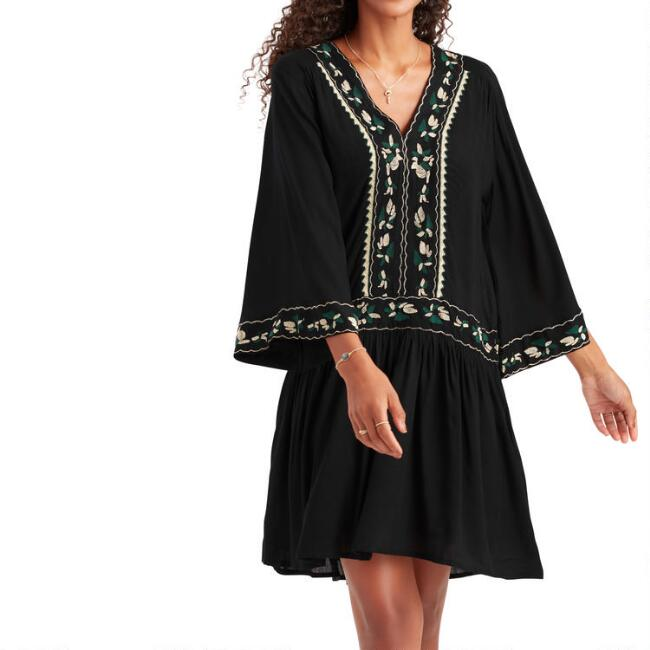 Black, Emerald And Gold Embroidered Harlow Dress