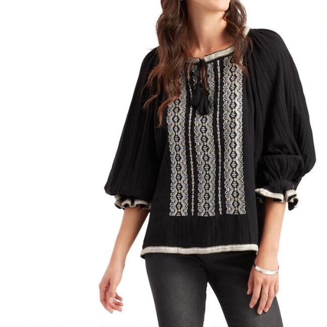 Black and Metallic Embroidered Janice Top