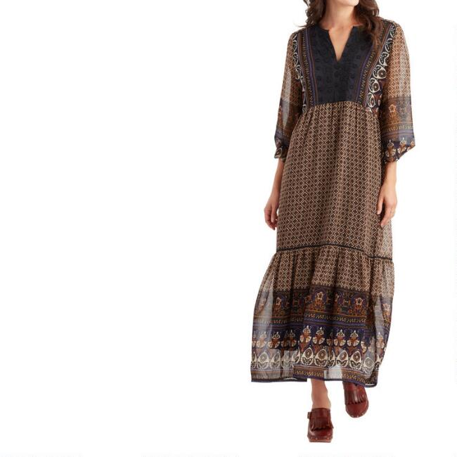 Caramel and Violet Mixed Print Embroidered Amara Dress