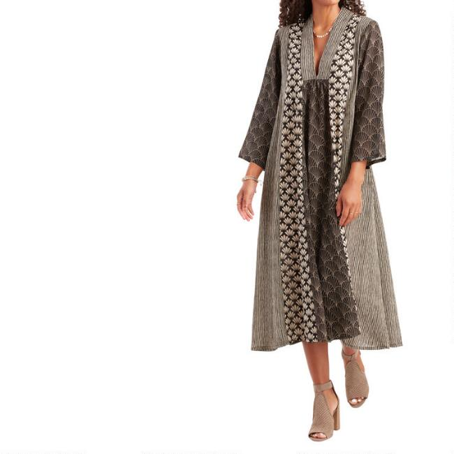 Black And Ivory Mixed Print Kaftan Dress With Pockets