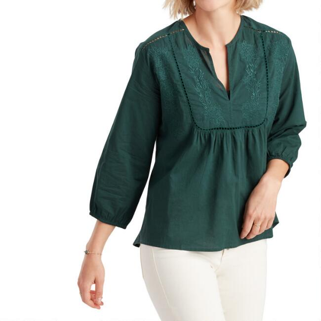 Teal Floral Embroidered Lola Top