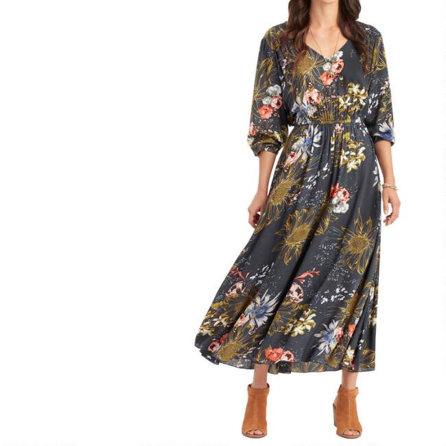 Navy Multicolor Floral Judith Dress