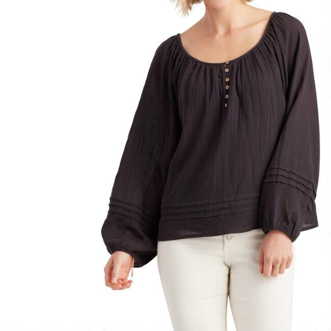 Washed Black Wood Button Lila Top
