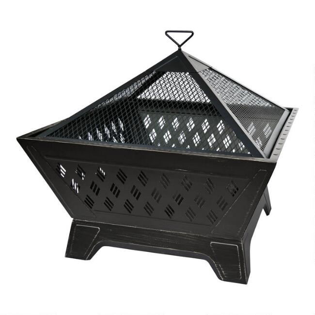 Square Antique Bronze Crisscross Fire Pit