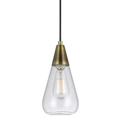 Antique Brass and Glass Cone Taavi Pendant Lamp