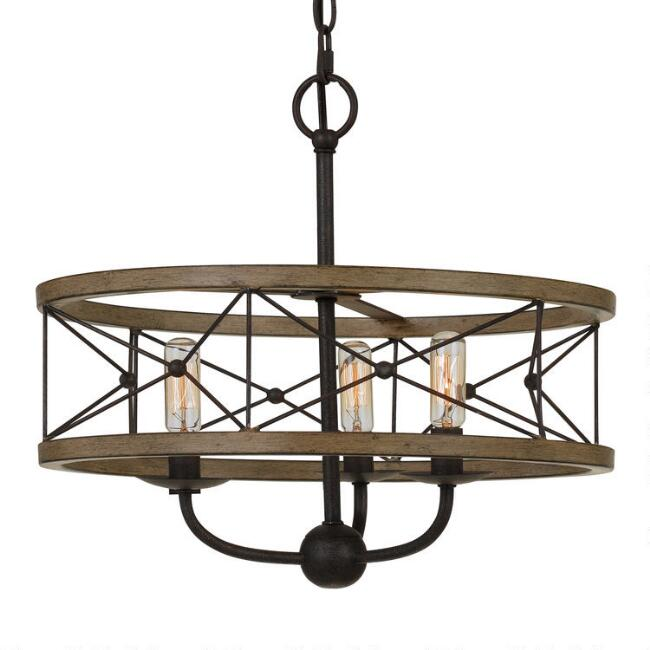 Distressed Ivory Metal Siobhan 3 Light Pendant Lamp