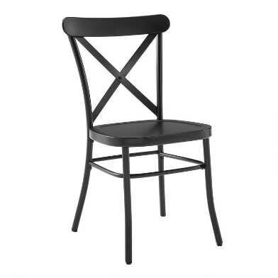 Matte Black Metal Bistro Dining Chairs Set of 2