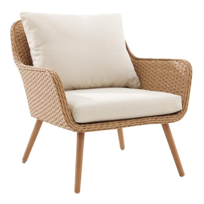 Oatmeal All Weather Wicker Simona Outdoor Armchairs Set of 2