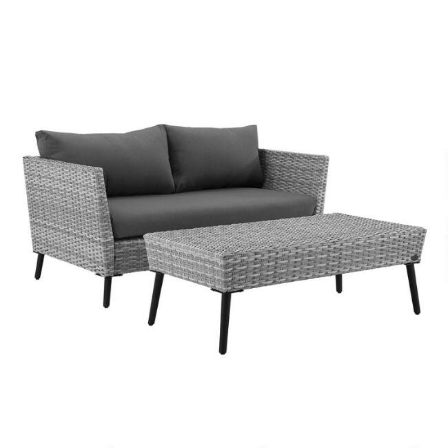 Gray All Weather Malique Outdoor Loveseat & Coffee Table