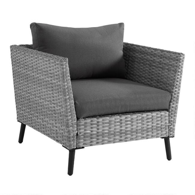 Gray All Weather Wicker Malique Outdoor Armchairs Set of 2