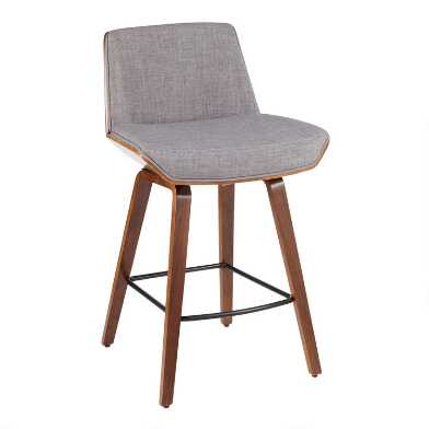 Light Gray Mid Century Joel Upholstered Counter Stool