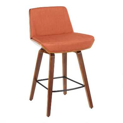 Orange Mid Century Joel Upholstered Counter Stool