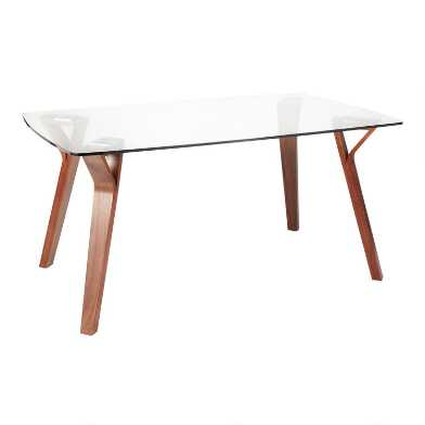 Rectangular Glass and Wood Mid Century Joel Dining Table
