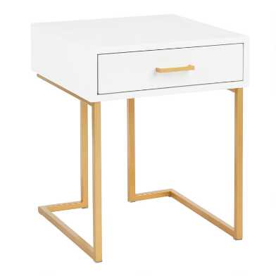 White and Gold Nanette Accent Table with Drawer