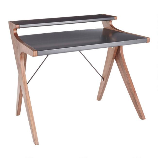 Charcoal Gray Wood Two Tier Dwayne Desk