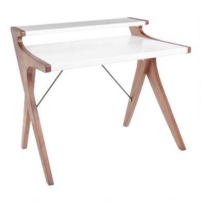 White Wood Two Tier Dwayne Desk