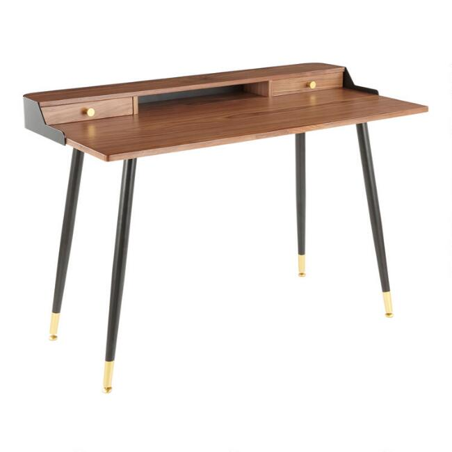 Gold and Black Walnut Wood Dominique Desk