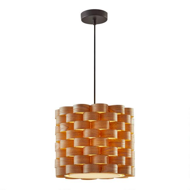 Natural Basket Weave and Linen Kelani Pendant Lamp