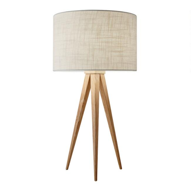 Oak Wood Tripod Lynnette Table Lamp