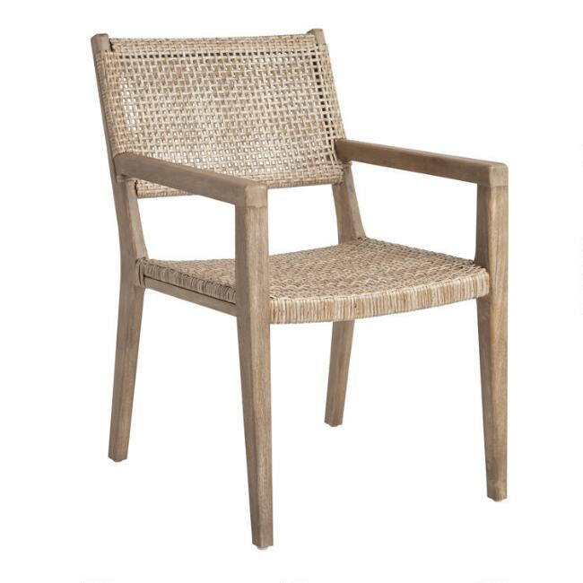 Natural Open Weave Catalina Outdoor Dining Armchair Set of 2