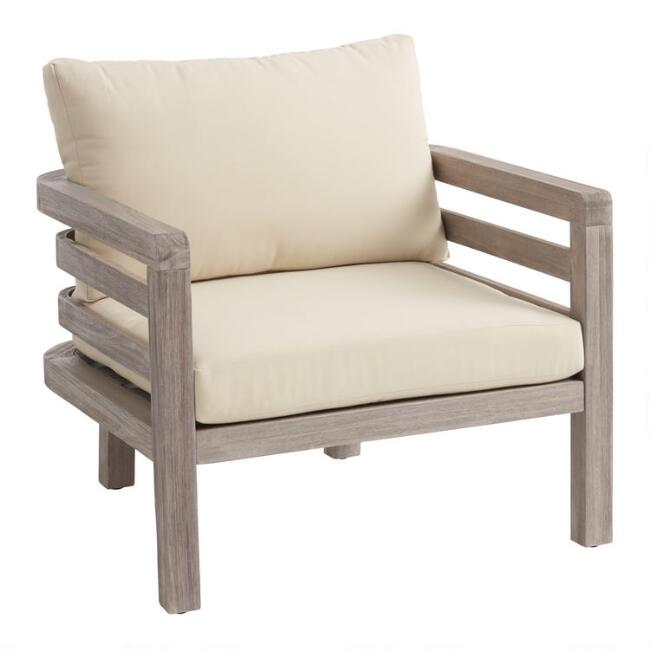 Graywashed Acacia Marciana Outdoor Occasional Chair