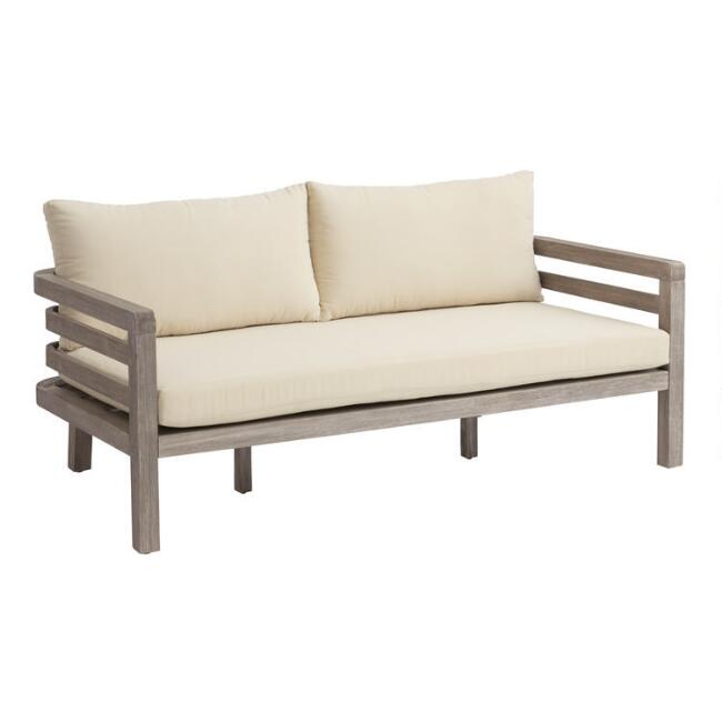 Graywashed Acacia Marciana Outdoor Bench