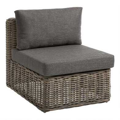 Gray Zahara Modular Outdoor Sectional Armless Chair