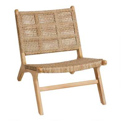 Natural Open Weave Girona Outdoor Accent Chair Set of 2
