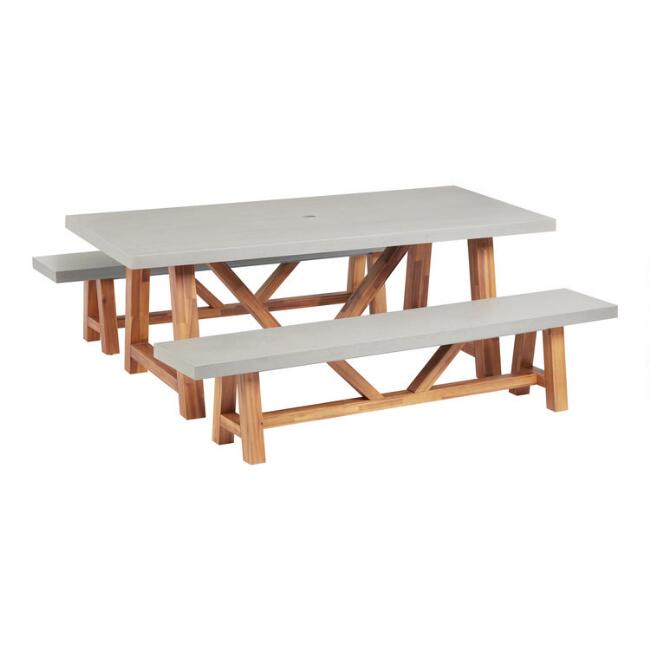 Rectangular Faux Cement Palmera Outdoor Dining Collection