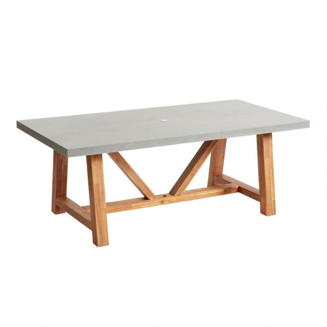 Rectangular Faux Cement Palmera Outdoor Dining Table