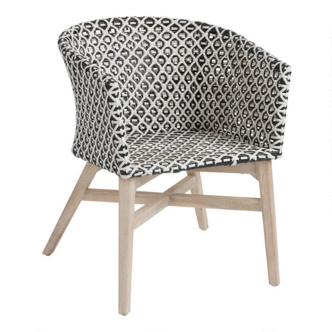 White and Black All Weather Trogir Outdoor Dining Armchair